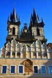 The Church of Mother of God in front of Týn (in Czech Kostel Matky Boží před Týnem, also Týnský chrám (Týn Church Stock Image