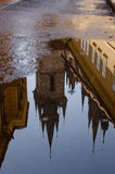 Church of Mother of God before Týn roof reflection in puddle.  Stock Photo