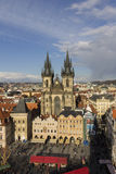 The Church of Mother of God before Tyn in Prague with easter markets 2015 in front of it Royalty Free Stock Image