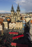 Church of Mother of God before Tyn in Prague with 2015 easter markets Stock Image