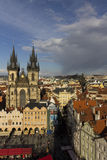 The Church of Mother of God before Tyn in Prague with ester markets in front of it Stock Image