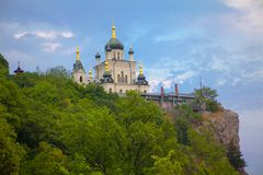 Church on the mountain in Crimea. Church of Christ`s Resurrection on the hill in Crimea royalty free stock image