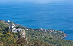 Church on mountain in Crimea Stock Photos
