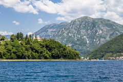 Church in the mountains around the town Herceg Novi in Kotor bay Stock Image