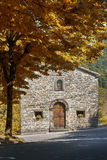 Church in the mountains. Old mountain church in autumn Stock Images