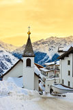 Church at mountains ski resort Solden Austria royalty free stock image