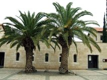 Church of the Multiplication of the Loaves and Fish in Tabgha, Israel. The entrance of The Church of the Multiplication of the Loaves and Fish or The Church of stock image