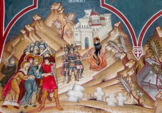 Church murals. Old painting of the walls of the monastery of St. Andrew, Romania Royalty Free Stock Photo