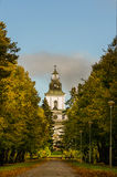 The Church of Mustasaari. A shot from distance of the Church of Mustasaari. The church was built in 1786 and it is situated in the historic area Gamla Vasa Royalty Free Stock Photography