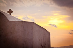 Church in Mykonos, Greece. Church on the beach in Mykonos, Greece, at sunset Stock Photo
