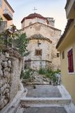 Church in Nafplio. Ancient orthodox church in alley of the old town Nafplio, Greece stock images