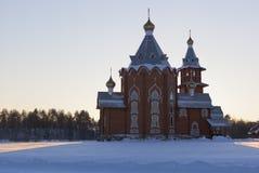 Church of the Nativity Prophet and Forerunner John the Baptist. Village Zaruchevnya (Shilovskaya), Belsky district, Arkhangelsk region, Russia Royalty Free Stock Photos