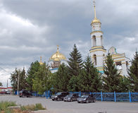Church of the Nativity in the settlement of Volzhsky. Samara region. Russia. Church of the Nativity in the settlement of Volzhsky. Clouds in the sky. Samara Royalty Free Stock Photo