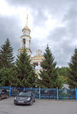 Church of the Nativity in the settlement of Volzhsky. Samara region. Russia. Church of the Nativity in the settlement of Volzhsky. Clouds in the sky. Samara Royalty Free Stock Image