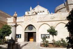 The church of the Nativity. Church of St, Catherine, Bethlehen, Israel. Church of St. Catherine is a Catholic church and Franciscan monastery connected to the Stock Photos