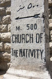 Church of nativity street sign. At bethlehem, west bank, Palestine stock photography