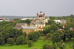 Church in the nature - Vilnius old city view Stock Photo