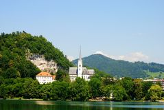 Church near Bled lake Royalty Free Stock Images