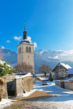 Church near Gruyere castle  on a clear winter day Stock Image
