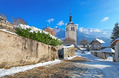 Church near Gruyere castle Royalty Free Stock Images