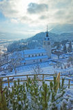 Church near Gruyere castle in winter Royalty Free Stock Photos
