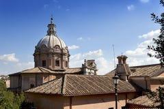Church near ruins of Traian forum  in Rome Stock Photo