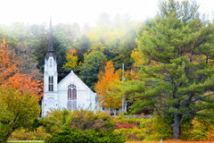 Church near Woodstock Vermont. Shot in morning fog Royalty Free Stock Photography
