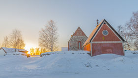 The church of Nederlulea. In Sweden at sunset in winter Stock Photo
