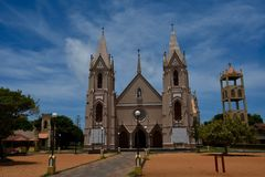 Church at Negombo in Sri Lanka. Front view of St Sebastian`s church on Negombo, Sri Lanka, including bell tower royalty free stock photography