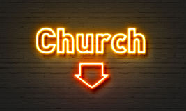 Church neon sign on brick wall background. Church neon sign on brick wall background royalty free stock image