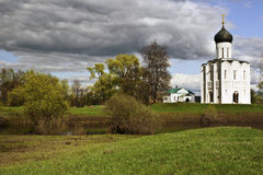 Church on Nerl river Royalty Free Stock Images