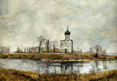 Church on the Nerl. Watercolor. stock photos