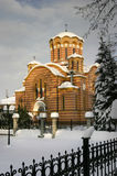 Church new. An orthodox church overview during winter Stock Image