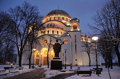 Church in the night. Temple of St. Sava is located in Vracar plateau in center of Belgrade Stock Photo