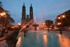 Church at Night. A long exposure of an ancient Church and fountain in Tepic, Mexico Stock Photography