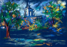 Church at night. Old,grunge original pastel and  hand drawn, working  sketch ofa church or chapel and trees at night Stock Photography