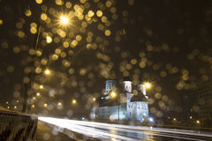 Church in the night. Long exposure of a night landscape with church in rainy wheater Royalty Free Stock Image