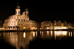Church at Night. Church reflected night scene in Luzern, Switzerland royalty free stock photography