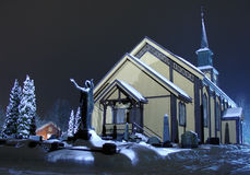 Church on night. Church in Honefoss, Norway on a winter night Royalty Free Stock Image