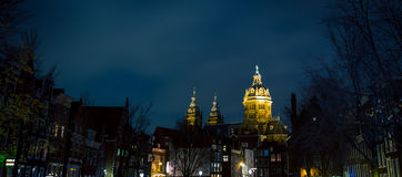 Church at night Amsterdam Royalty Free Stock Images