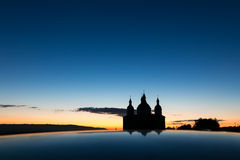 Church in the night. Beautiful silhouette of church in the dusk Stock Photos