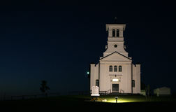 Church at night in Canada. Church in Prince Edward Island, Canada, illuminated by spotlight at night Royalty Free Stock Photography