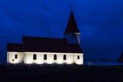 Church. At night near sea in Iceland Stock Photo