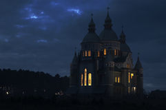 Church at night. stock photo