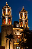 Church at night in Valladolid Mexico. Iglesia de Plaza Mayor in Valladolid, Mexico, Yucatan. A Spanish cathedral near the main square or plaza as Mexicans call Stock Images