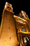 Church at night in Valladolid Mexico Stock Photos