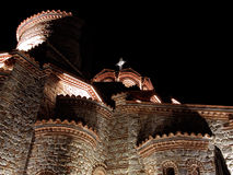 A church in nighttime. A monastery in nighttime in Ohrid, Macedonia Stock Photography