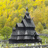 Church in Norway. Borgund Stavkirke in autumn, Norway Stock Photo
