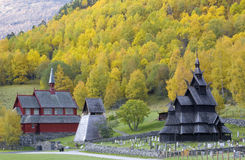 Church in Norway. Borgund Stavkirke in autumnal Norway Royalty Free Stock Images