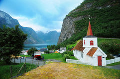 Church in Norway. A picturesque view of the Undredal Stave church in the mountainous regions of Norway Royalty Free Stock Image